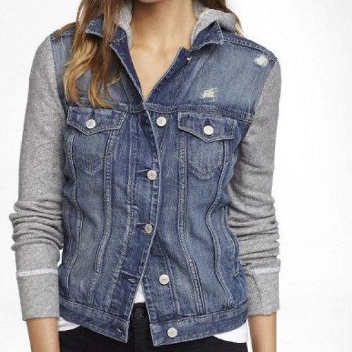 NEW! rue 21 hoodie sweatshirt jean jacket S