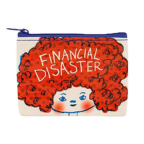 """financial disaster"" zipper coin purse"