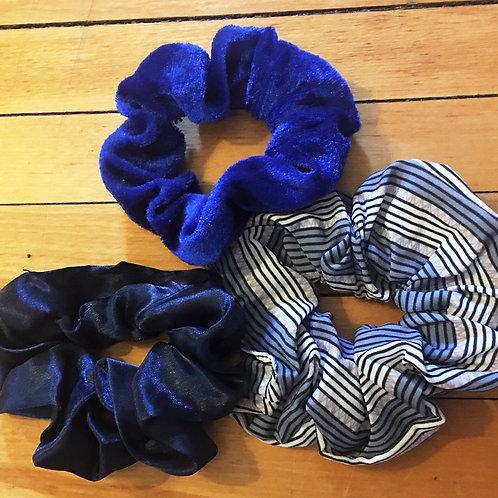 set of 3 blue mixed materials scrunchies