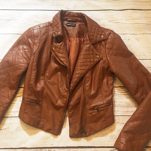 wet seal cognac faux leather quilted moto jacket XS