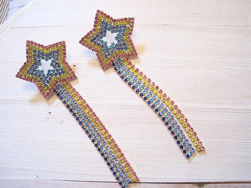 rainbow brite rhinestone crystal shooting star earrings