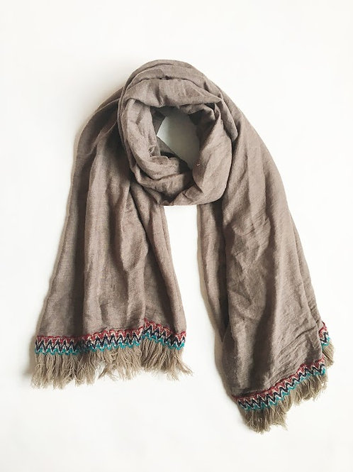 boho embroidered fringe scarf