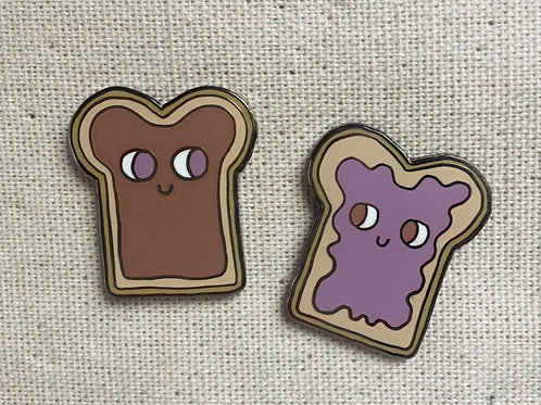 peanut butter and jelly bff sandwich enamel pin set