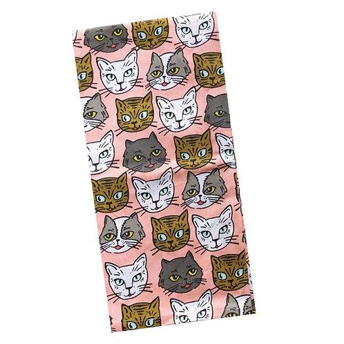 paper source pink cat kitty print tea dish towel