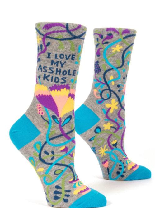 """""""i love my asshole kids"""" funny mom snarky sock"""