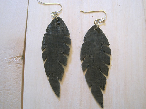 chocolate brown cork hand cut feather earrings lightweight