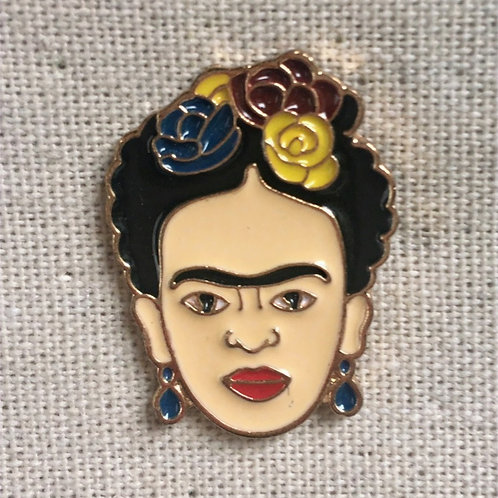 frida kahlo flower enamel pin