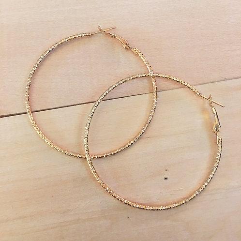 """minimalist gold textured hoop earrings 2.25"""" diameter"""