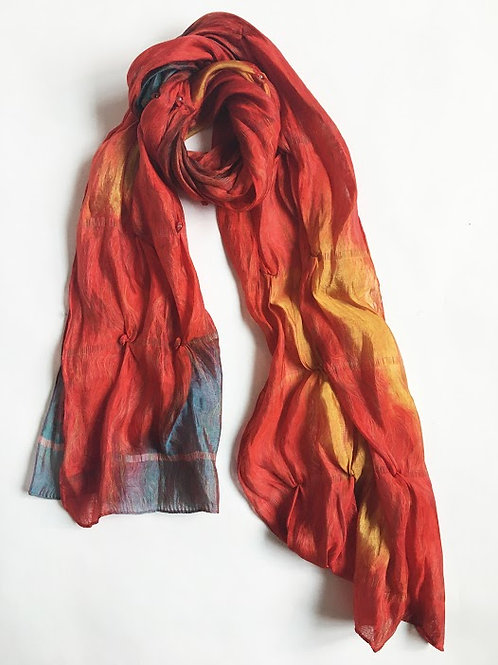 playing with fire ombre orange hand-detailed scarf