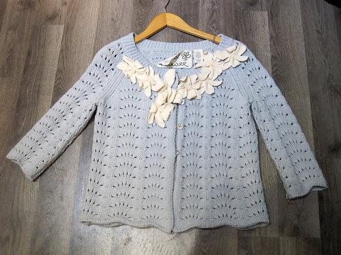 anthropologie field & flower star flower embellished floral cardigan sweater S
