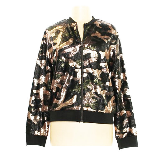 say what sequin CAMO bomber jacket L