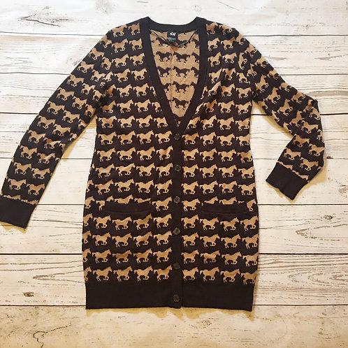 h&m brown horse print cardigan sweater M