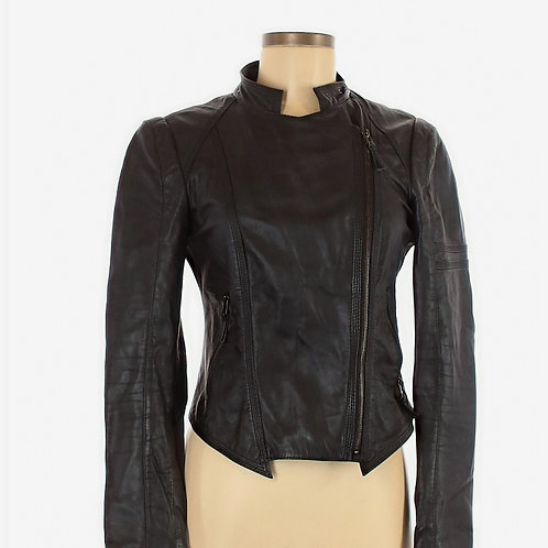 zara black leather biker moto jacket M