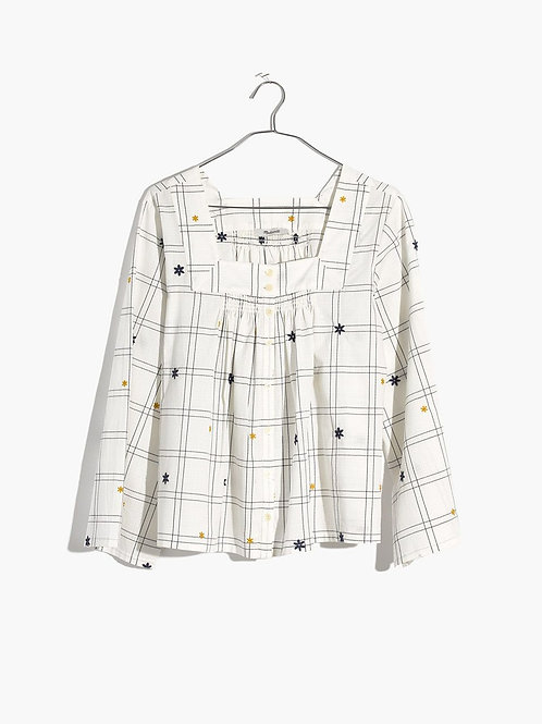 NEW! madewell $85 windowpane embroidered blouse XS