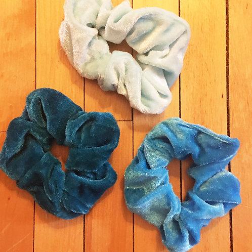 set of 3 velvet sea green tones scrunchies