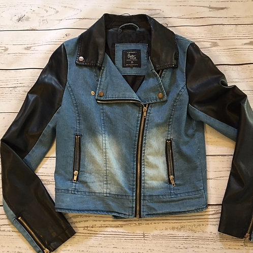 cotton on australia distressed jean jacket leather sleeves XS