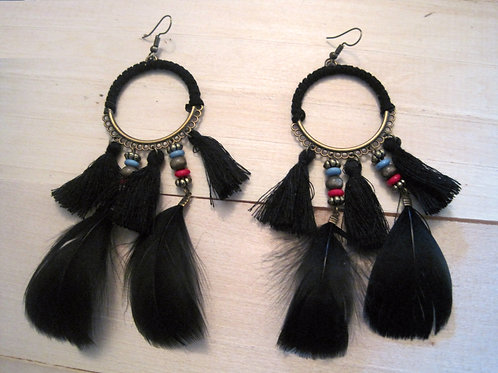 boho black feather statement earrings
