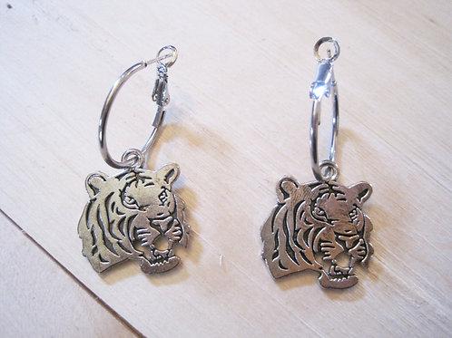 boss ass silver tiger hoop earrings
