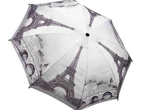 black & white paris cityscape foldable umbrella