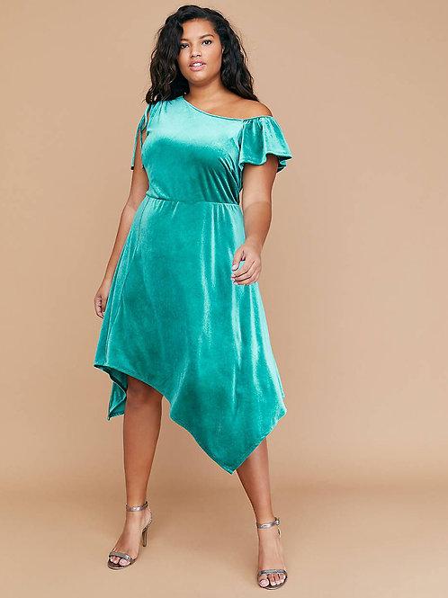 lane bryant teal velvet party dress XL 14