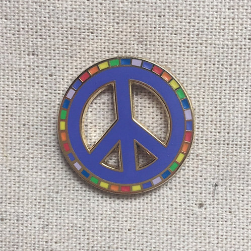 purple rainbow peace symbol enamel pin