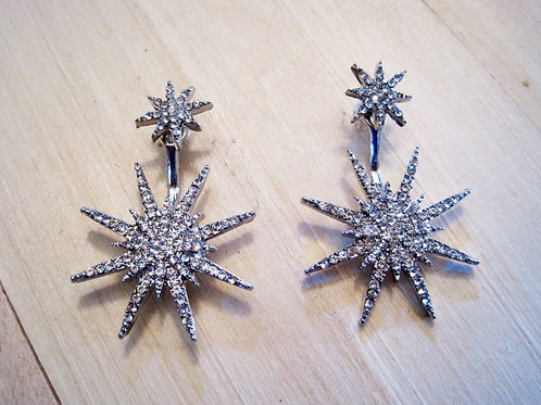 silver retro rhinestone crystal star burst earrings