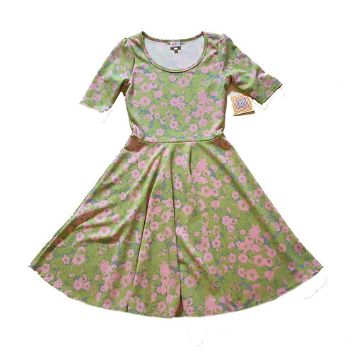 NEW! lularoe pink & green floral cap sleeve nicole dress M