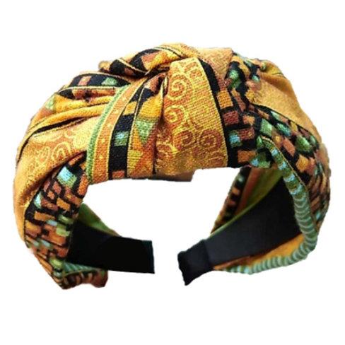 yellow cotton aztec print knot wide headband turban