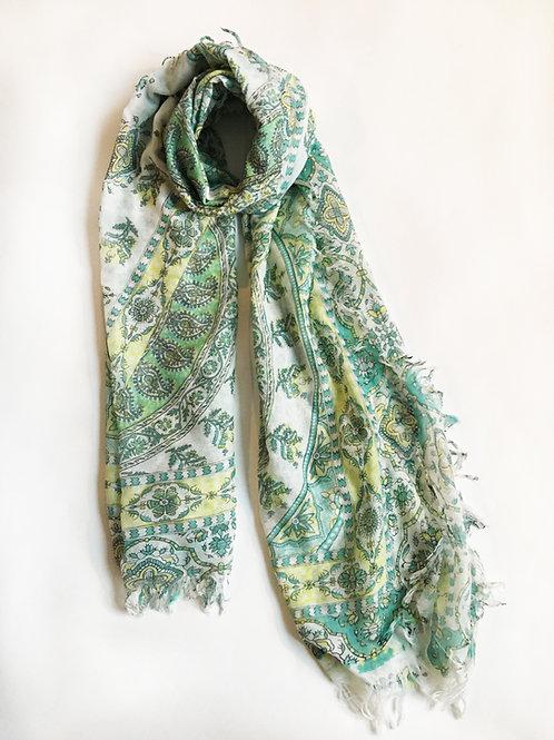 boho green paisley fringed scarf