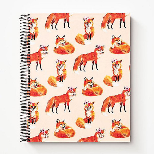 pink fox print hard cover large notebook journal