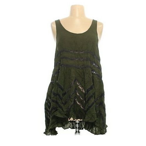 free people olive voile lace trapeze slip dress S
