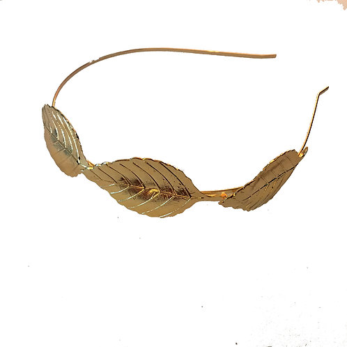 2 grecian urns gold leaf metal headband