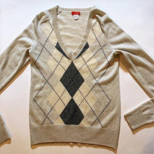 j.crew 100% cashmere 'celeste' argyle preppy sweater M
