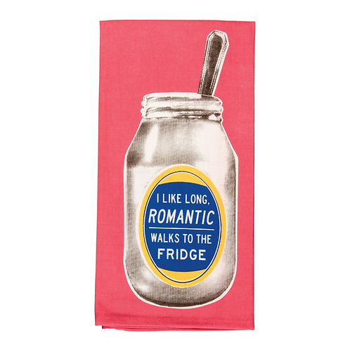 i like romantic walks to the fridge dish towel