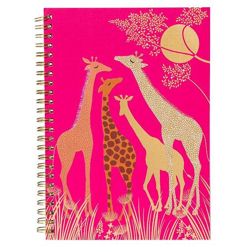 pink giraffe gold foil embellished spiral journal