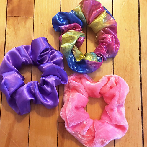 unicorn set of 3 mixed material scrunchies