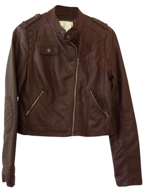 target brown faux leather quilted moto jacket S