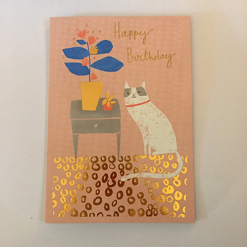 cat & plants birthday card