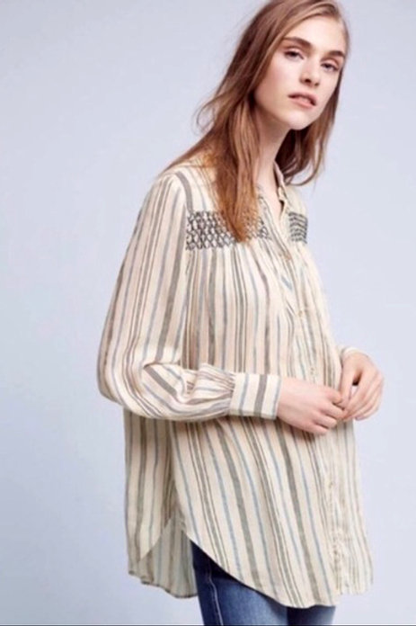 anthropologie floreat striped peasant blouse w/ embroidery S