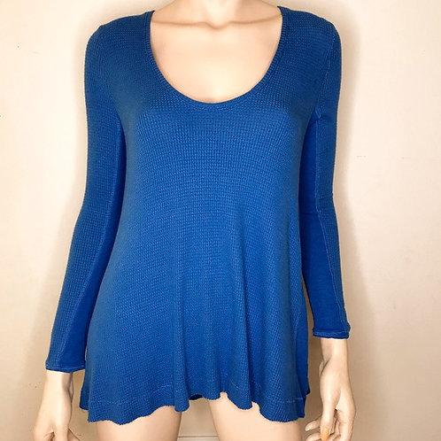 free people blue waffleknit swing blouse M