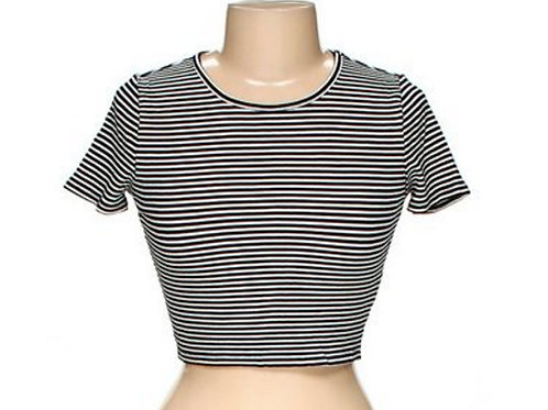 forever 21 90's black & white striped crop tee L