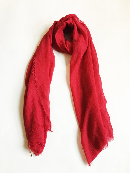 minimalist red flowy scarf