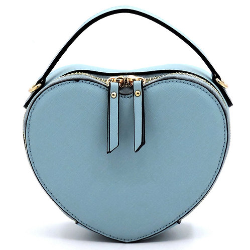 light blue heart shape crossbody bag purse