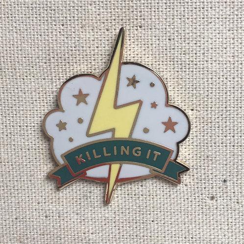 killing it stars & lightning bolt enamel pin