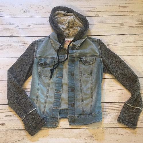 target jean jacket with gray hoodie/sleeves XS