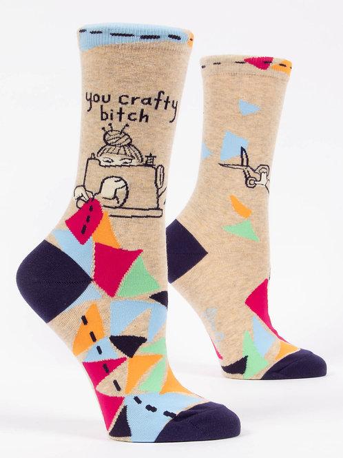 """""""you crafty bitch"""" DIY-er funny snarky sock"""