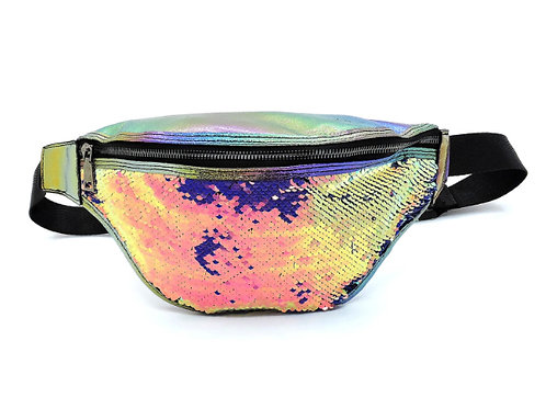 mermaid sequin holographic silver rainbow fanny pack