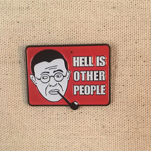 Jean-Paul Sartre hell is other people enamel pin