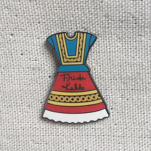 frida kahlo dress iconic enamel pin