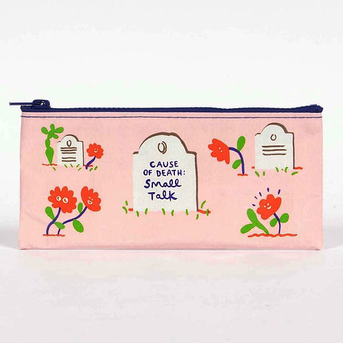 """cause of death small talk"" pink tombstone pencil case pouch"